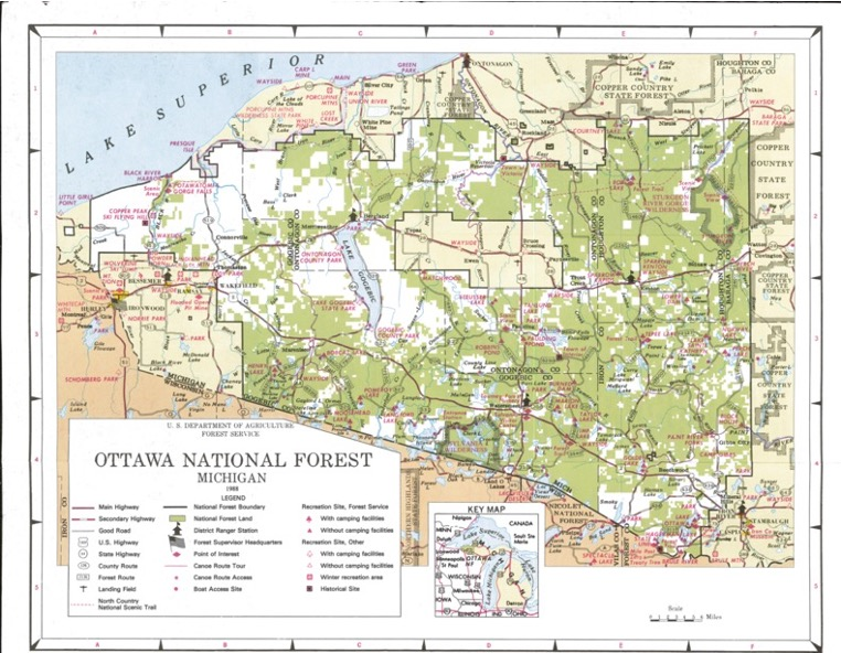 Image map of the Ottawa National Forest