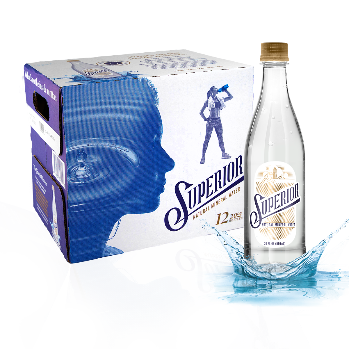 Image of the Superior Natural Mineral Water products - 20 oz. single bottle and 12 pack box of 20 oz bottles.